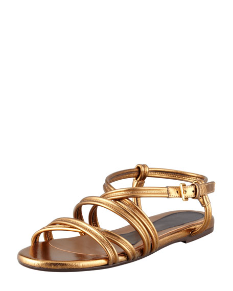 Strappy Metallic Leather Sandal, Gold