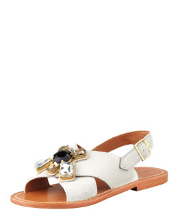 Marni Jeweled Calf Hair Sandal, White