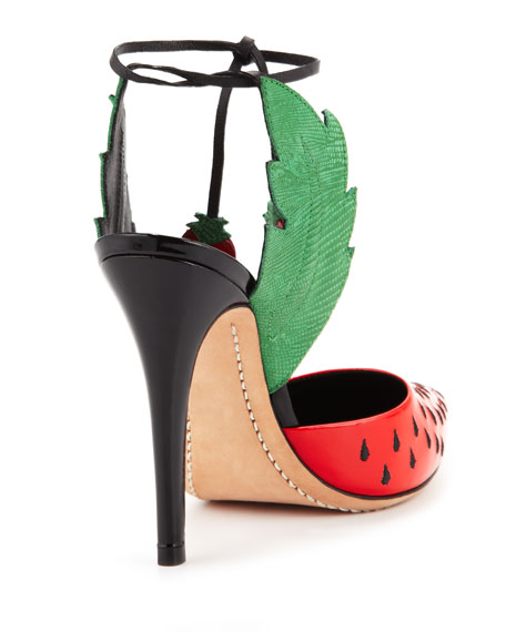 Strawberry Daiquiri Ankle-Wrap Pump