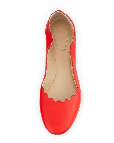 Scalloped Metallic Leather Ballerina Flat, Star Red