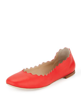 Chloe Scalloped Metallic Leather Ballerina Flat, Star Red