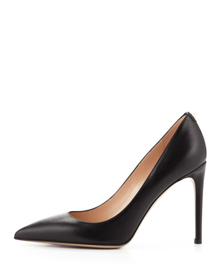 Rockstud Leather Simple Pump, Black