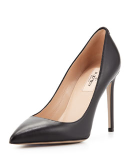 Valentino Rockstud Leather Simple Pump, Black