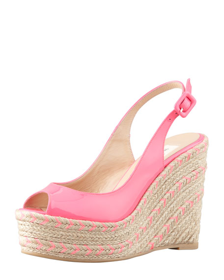 Patent Chevron-Espadrille Slingback Wedge, Pink