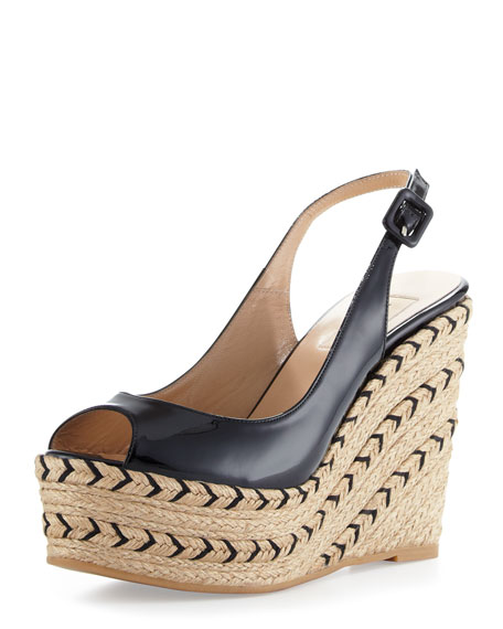 Patent Slingback Espadrille Wedge