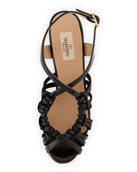 Strappy Patent Cork Wedge Sandal, Black