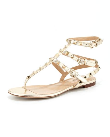 Rockstud Ankle-Wrap Thong Sandal, Gold