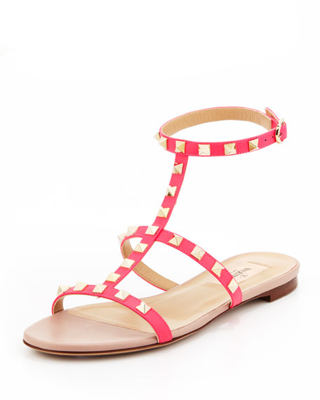 Rockstud Single-Wrap Gladiator Sandal, Pink