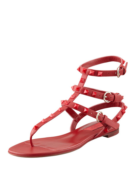 Valentino Rockstud Ankle-Wrap Thong Sandal, Red
