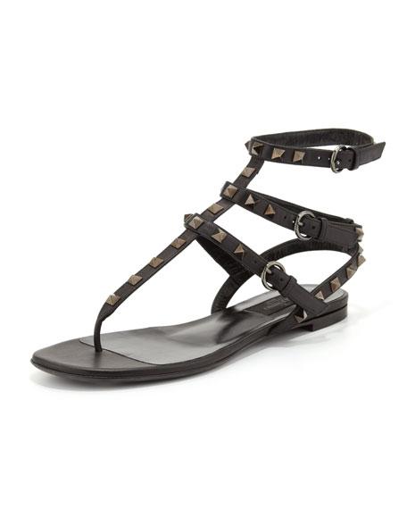 Rockstud Noir Flat Gladiator Thong Sandal