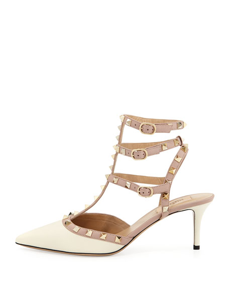 Rockstud Pointed Patent Pump, White