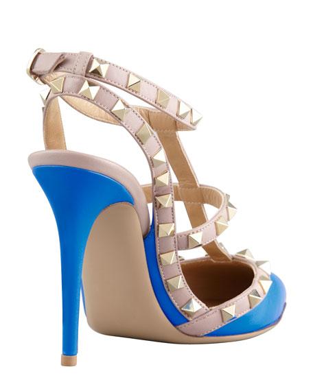 Rockstud Two-Tone Slingback Sandal, Blue