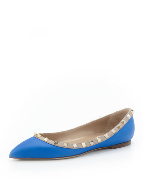 Rockstud Leather Ballerina, Blue