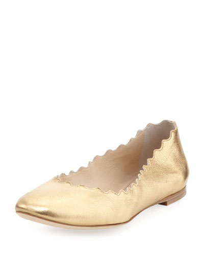 Chloe Scalloped Metallic Leather Ballerina Flat, Gold