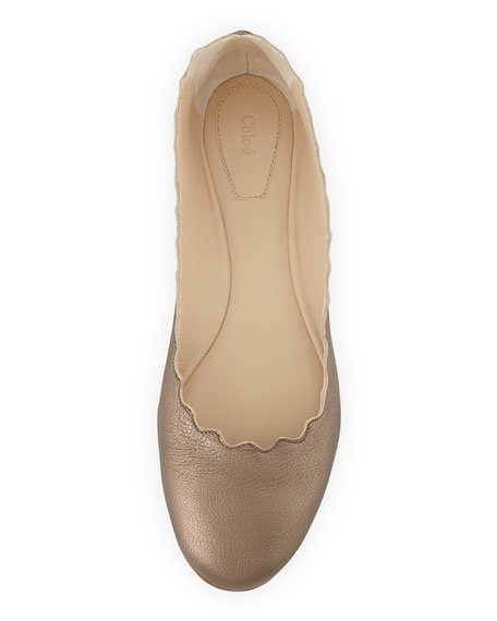 Scalloped Metallic Ballerina Flat, Pewter
