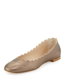 Chloe Scalloped Metallic Ballerina Flat, Pewter