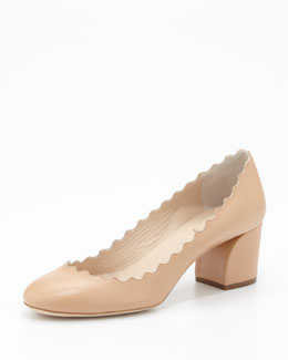 Chloe Scalloped-Collar Pump, Apricot
