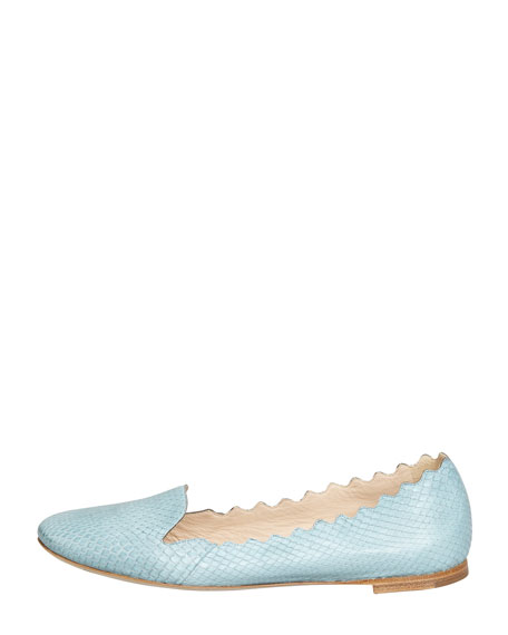 Scalloped Snakeskin Loafer, Light Blue
