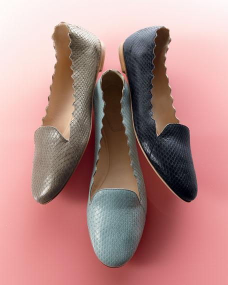 Scalloped Snakeskin Loafer, Light Blue
