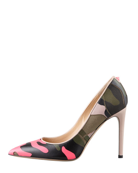 Rockstud Neon Camo Simple Pump