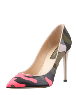 Valentino Rockstud Neon Camo Simple Pump