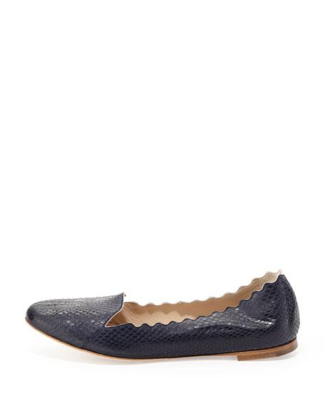 Scalloped Snakeskin Loafer, Navy