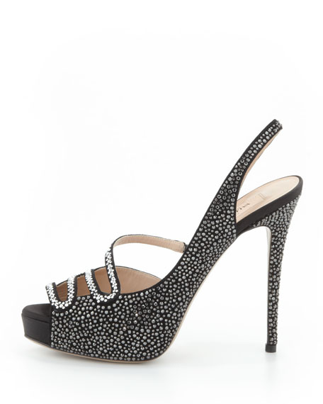 Crystallized Slingback Pump, Black