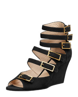 Chloe Multi-Buckled Strappy Sandal, Black
