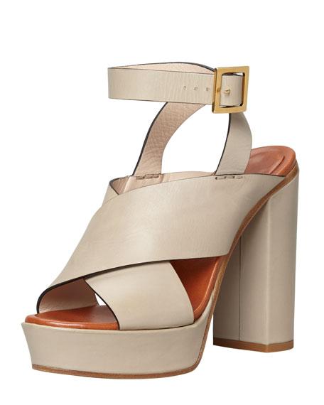 High-Heel Platform Crisscross Sandal, Gray