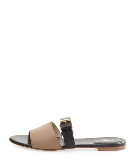 Bicolor Flat Sandal, Gray/Black