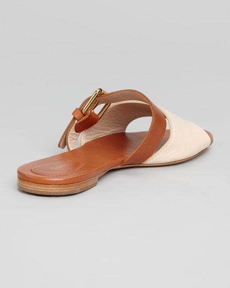 Bicolor Flat Sandal, Ivory/Tan