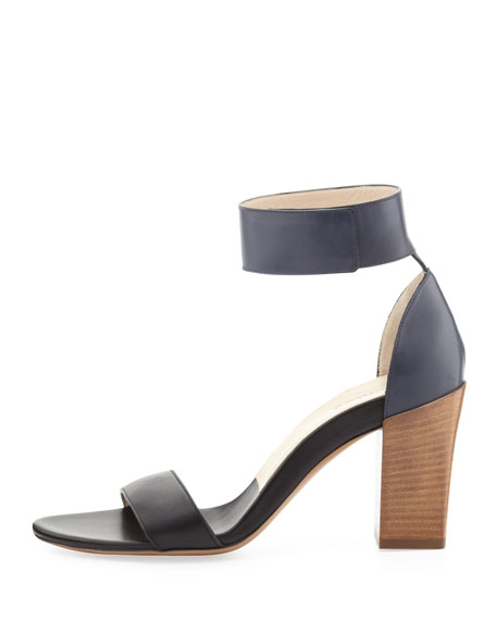 Two-Tone Ankle Strap Sandal, Black/Seawater
