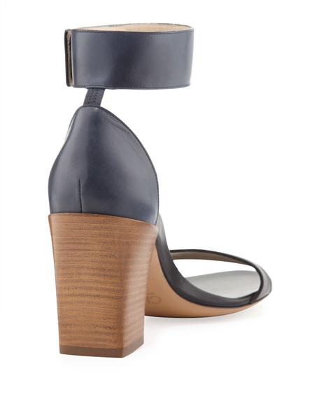 Two-Tone Ankle Strap Sandal, Black/Seawater