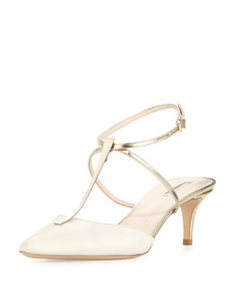 Giorgio Armani Low-Heel T-Bar Ankle-Strap Sandal