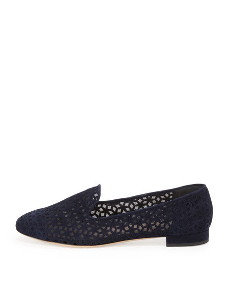 Suede Cutout Mesh Loafer, Blue