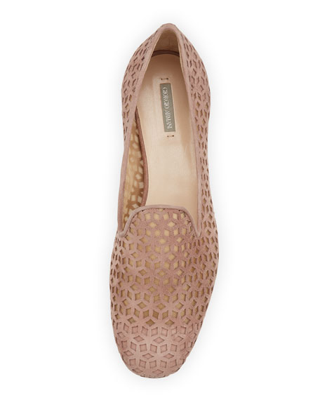 Suede Cutout Mesh Loafer, Poudre