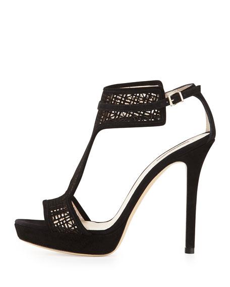 Laser-Cut Suede T-Strap Sandal