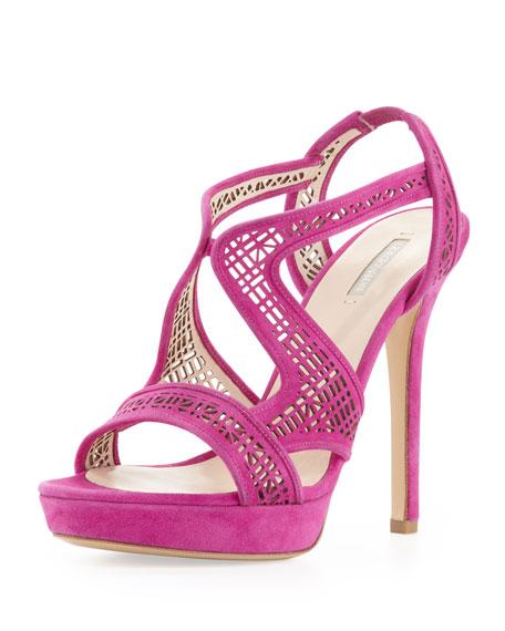 Suede Laser-Cut Sandal, Lampone