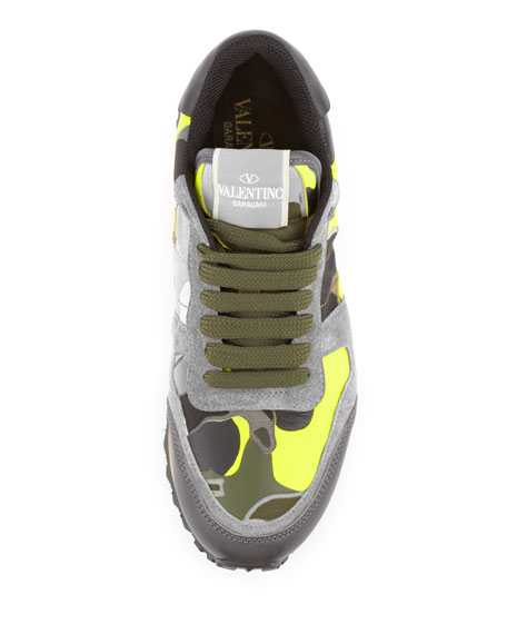 Rockstud Camo-Print Sneaker, Green/Yellow