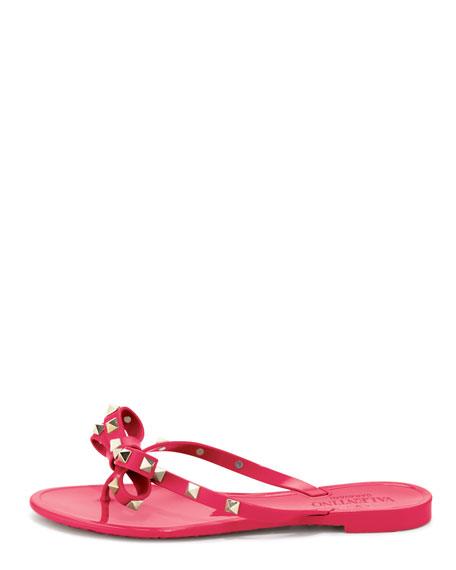Rockstud PVC Thong Sandal, Pink