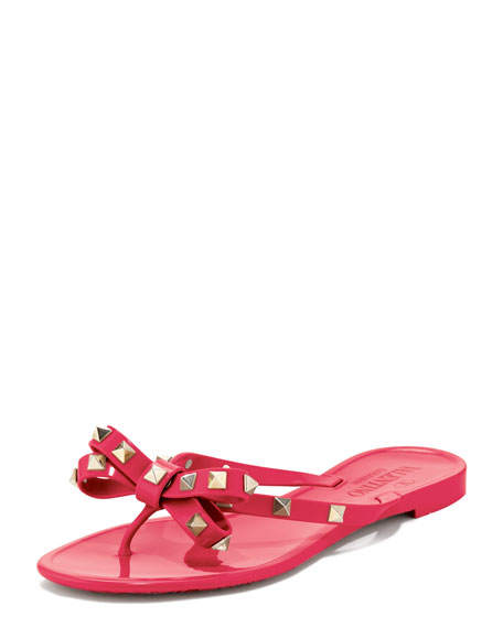 valentino rockstud pvc thong sandal pink. Black Bedroom Furniture Sets. Home Design Ideas