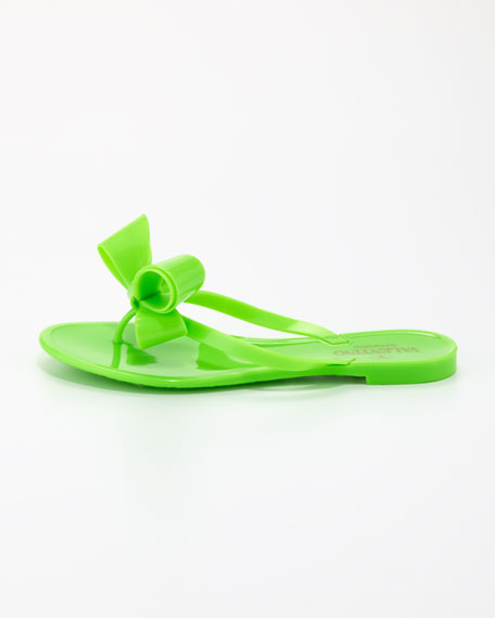 Jelly PVC Bow Thong Sandal, Green