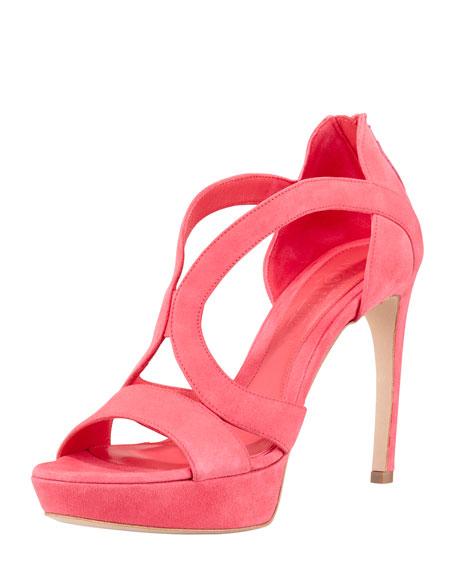 Strappy Suede Armadillo Sandal, Bubblegum