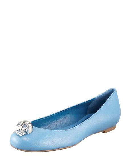 Skull-Toe Ballerina Flat, Cadet Blue