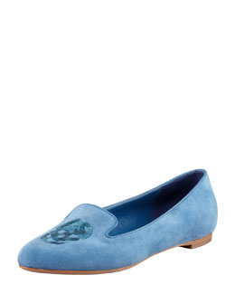 Alexander McQueen Embroidered Sequined Skull Smoking Slipper, Cadet Blue