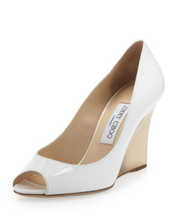 Jimmy Choo Baxen Patent Peep-Toe Wedge, White