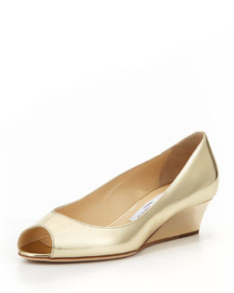 Jimmy Choo Bergen Peep-Toe Metallic Wedge, Gold