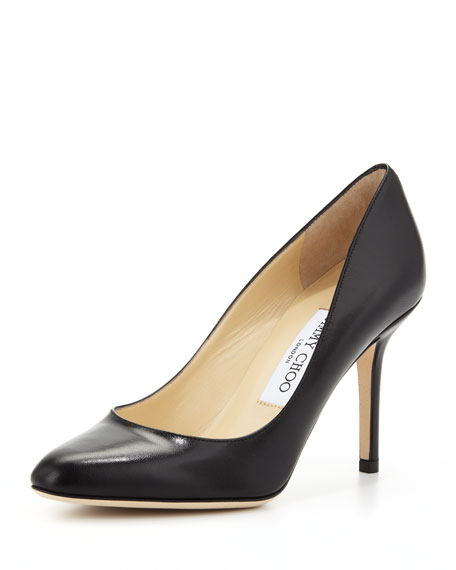Gilbert Leather Almond-Toe Pump, Black