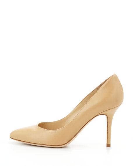 Gilbert Leather Almond-Toe Pump, Nude