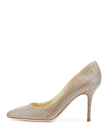 Gilbert Snakeskin Almond-Toe Pump